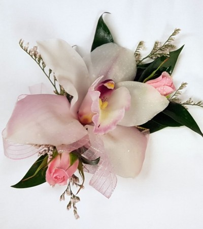 Corsage - Cymbidium Orchids & Pink Spray Roses