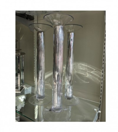 Tall Glass & Metal Candle Holders